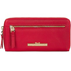 Pure Luxuries London - Barbados cherry 'Starling' leather zip round purse
