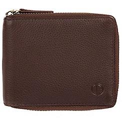 Pure Luxuries London - Brown 'Tornado' black zip-round RFID wallet