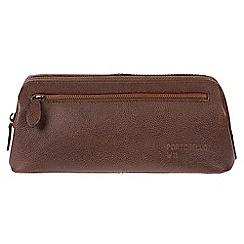 Portobello W11 - Walnut 'Beck' Buffalo Leather Washbag