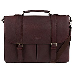 Portobello W11 - Oxblood 'Bronson' buffalo leather briefcase
