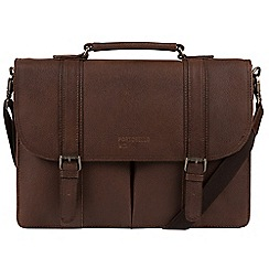 Portobello W11 - Walnut 'Bronson' buffalo leather briefcase
