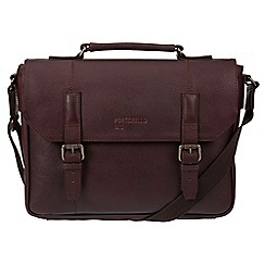 Portobello W11 - Oxblood 'Hugh' buffalo leather briefcase