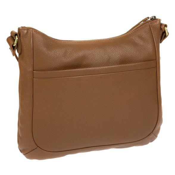 by Made leather handmade Dark cross tan bag body 'Kay' Stitch ZRRx6U