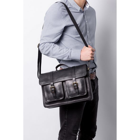 Stitch satchel by leather handcrafted Made Black 'Garsdale' vB5qpxx6w