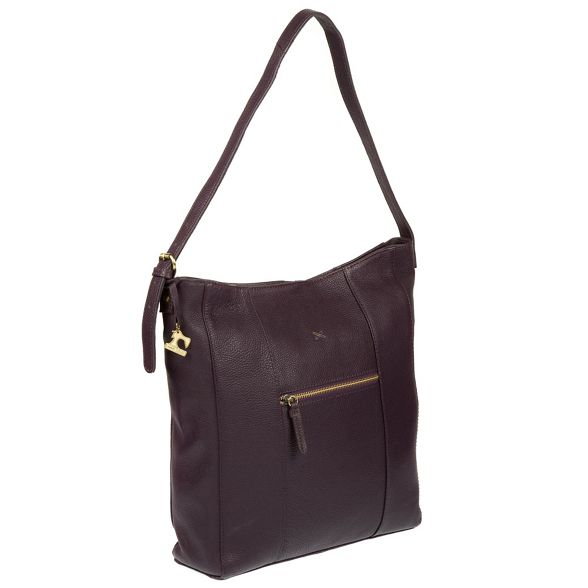 by 'Yashi' Stitch leather hobo handmade Plum bag Made ZOw1gqB