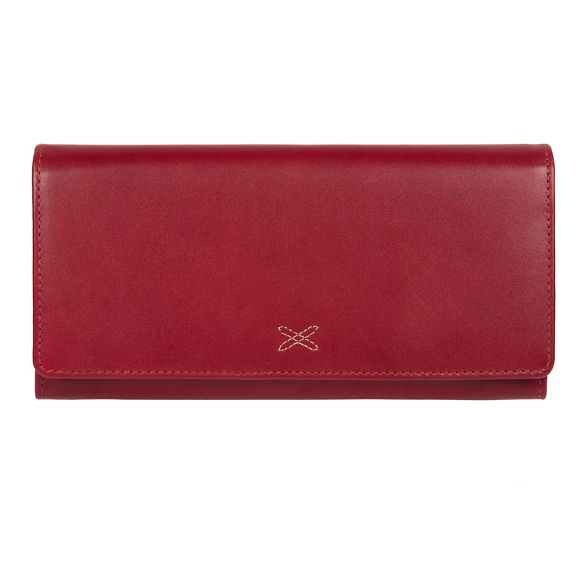 Stitch Red Ruby leather 'Lana' RFID handcrafted Made purse by pq55z