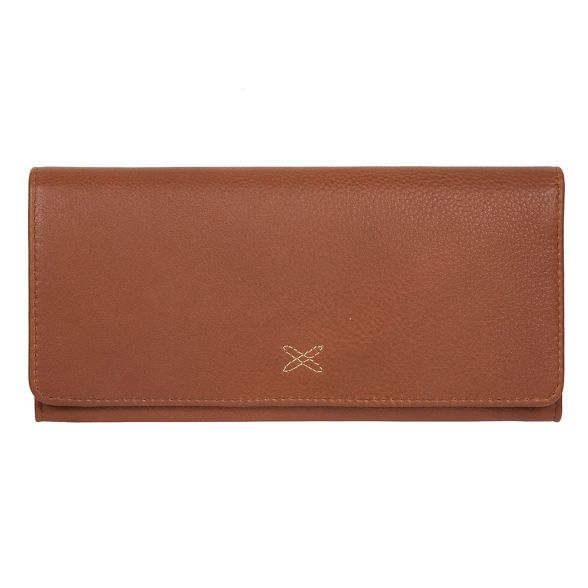 by Stitch Tan leather handcrafted Made purse 'Lana' RFID 6RqaxnO