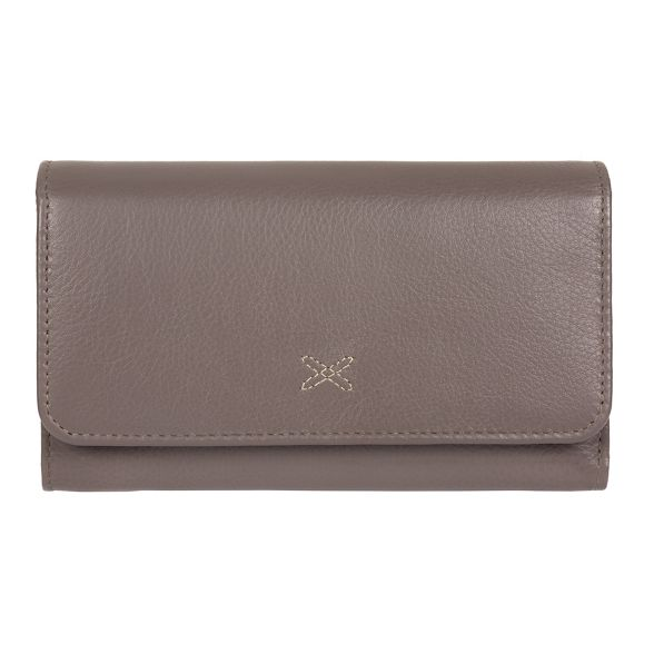 'Klara' handcrafted Taupe Made grey by Stitch leather purse RFID wfnAqI
