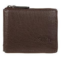 Made by Stitch - Dark brown 'Belmount' leather zip-round RFID wallet