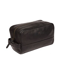 Made by Stitch - Black 'Bowfell' handmade leather wash bag