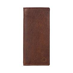 Conkca London - Vintage brown 'Harrison' waxed leather 15-card RFID breast wallet