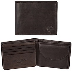 Conkca London - Vintage black 'Brevin' waxed leather 7-card RFID wallet