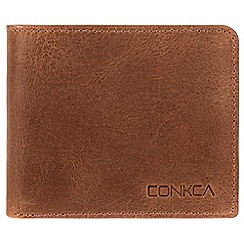 Conkca London - Vintage cognac 'Liszt' handcrafted leather RFID wallet