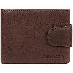 Conkca London - Dark brown 'Boris' bi-fold leather wallet