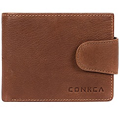 Conkca London - Conker brown 'Boris' bi-fold leather wallet