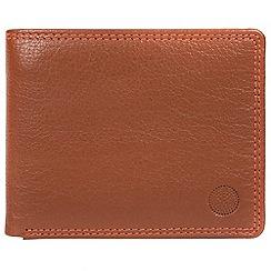 Conkca London - Chestnut and orange 'Moon' bi-fold leather wallet