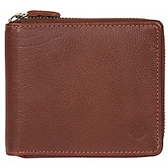 Conkca London - Conker brown 'Morrison' zip round leather wallet