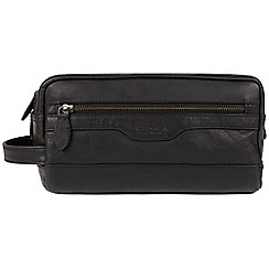 Conkca London - Black 'Loch' handcrafted leather washbag