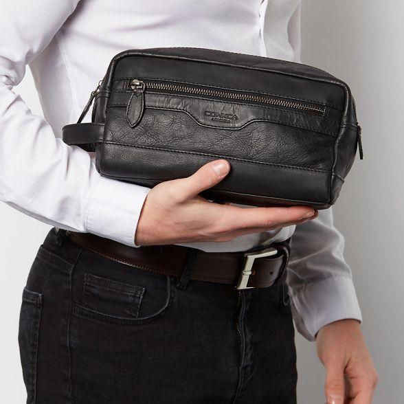 handcrafted Conkca Black London washbag 'Loch' leather wrrtqg