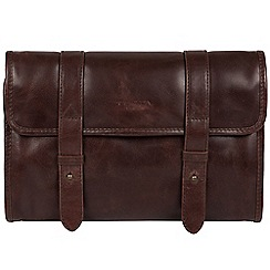 Conkca London - Dark brown 'Mere' handcrafted leather hanging washbag