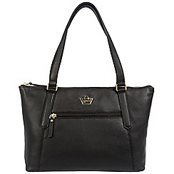 Portobello W11 - Black 'Durham' soft leather handbag