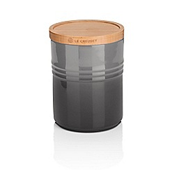 Le Creuset - Flint stoneware medium storage jar with wooden lid
