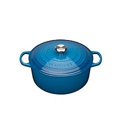Le Creuset - Marseille blue cast iron 'Signature' 24cm round casserole