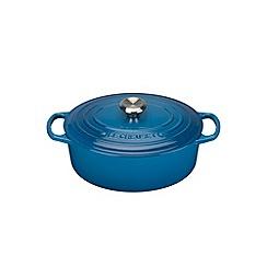 Le Creuset - Marseille blue cast iron 'Signature' 25cm oval casserole