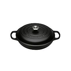 Le Creuset - Satin black cast iron 'Signature' 30cm shallow casserole