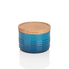 Le Creuset - Marseille blue stoneware small storage jar with wooden lid