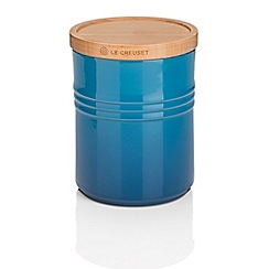 Le Creuset - Marseille blue stoneware medium storage jar with wooden lid