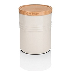 Le Creuset - Almond stoneware medium storage jar with wooden lid