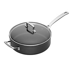 Le Creuset - Black toughened non-stick 26cm induction saute pan with glass lid