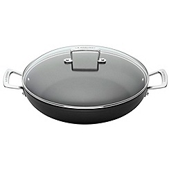 Le Creuset - Black toughened non-stick 30cm induction shallow casserole