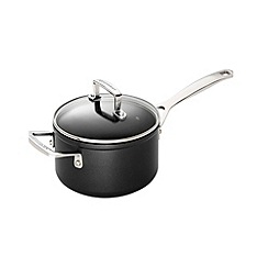 Le Creuset - Black toughened non-stick 16cm induction sauce pan with glass lid