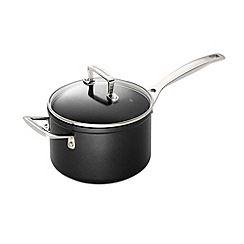 Le Creuset - Black toughened non-stick 18cm induction sauce pan with glass lid
