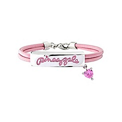 Pineapple - White bronze and pink enamel genuine leather cord bracelet with pink cubic zirconia heart