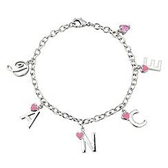 Pineapple - White bronze bracelet with pink enamel hearts
