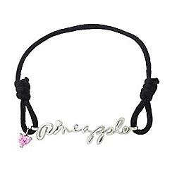Pineapple - White bronze, black cord bracelet