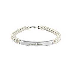 Precious Moments - Sterling silver, freshwater pearl 'always and forever' ladies bracelet