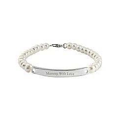 Precious Moments - Silver, freshwater pearl 'mummy with love' ladies bracelet