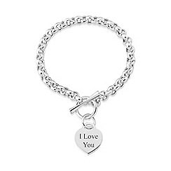 Love Story - Sterling silver t-bar 'i love you' bracelet