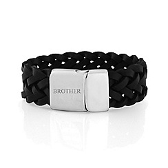 Precious Moments - Gents black leather stainless steel 'brother' bracelet