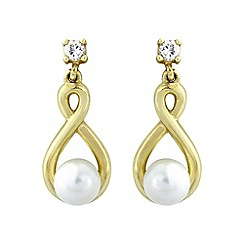 Love Story - 9ct gold pearl and CZ earrings