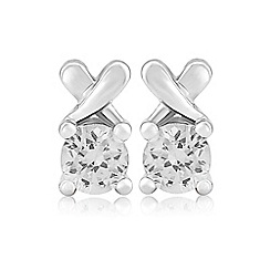Precious Moments - Sterling silver white cubic zirconia 'kiss' earrings