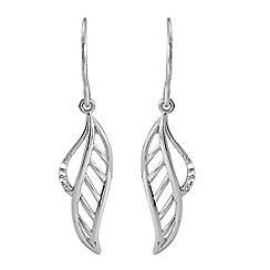 Love Story - Sterling Silver Feather Ladies Earrings