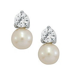 Precious Moments - Sterling Silver Pearl & Created White Sapphire Earrings