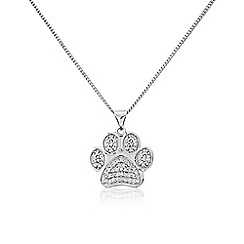 Pawprints - Silver, message, stone-set pawprint necklet