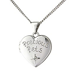 Precious Moments - Pawprints sterling silver diamond heart locket