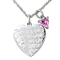 Pineapple - Sterling silver 'Pineapple' heart pendant with pink heart charm